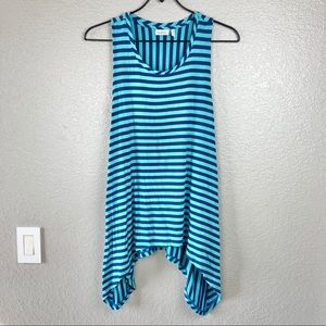 LOGO Lori Goldstein Sleeveless Striped Tunic Sz L